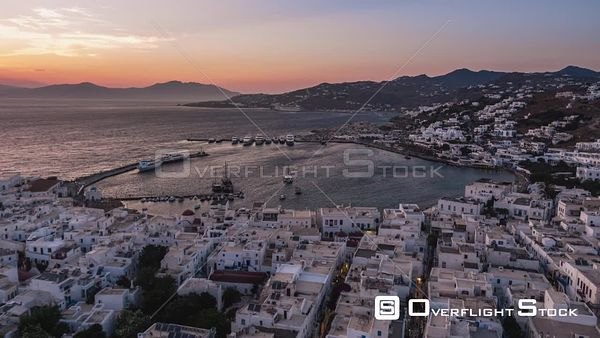 Aegean Sea and Mykonos Island Greece at Dusk