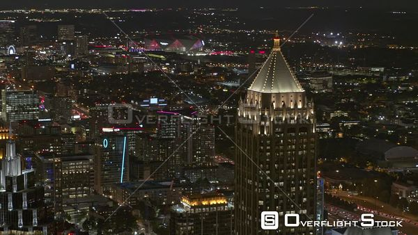 Atlanta Panning nighttime cityscape from midtown to downtown