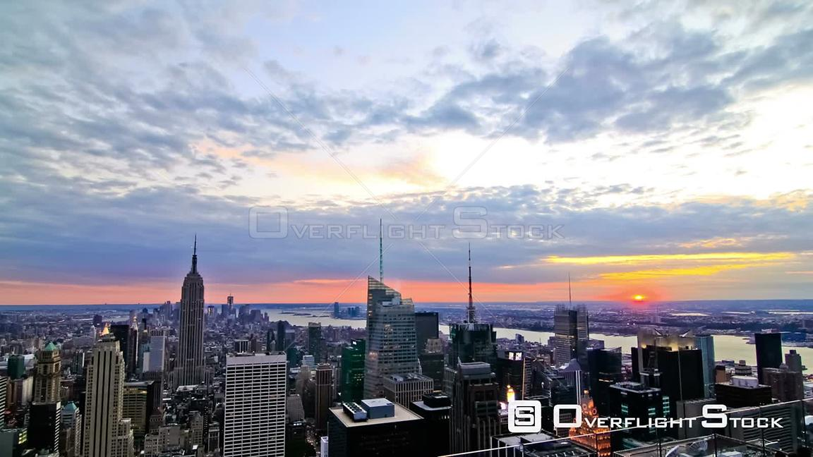 NYC New York USA New York cityscape time lapse clip during sunset
