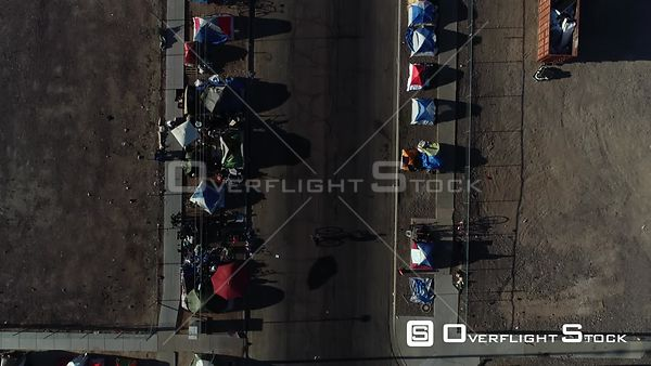 Drone Video Tent City Skid Row Phoenix Arizona During COVID-19 Pandemic