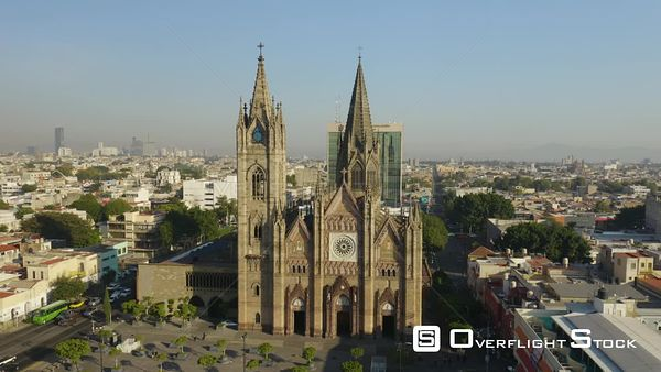 City Skyline and Cathedral  Guadalajara Drone Aerial View Mexico
