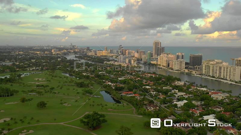 Aerial establishing footage of Allison Island Miami Beach Indian Creek 4k