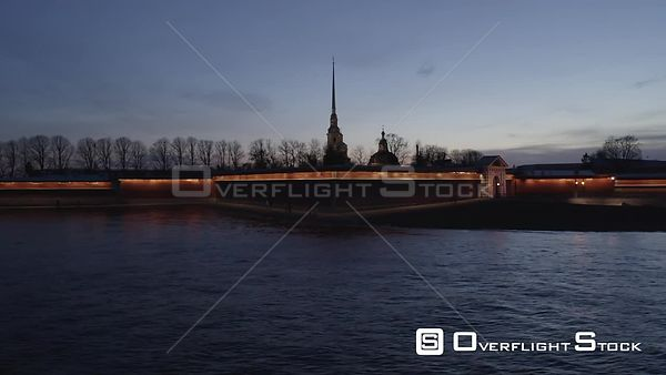 Sideway Blue Hour Shot Over Peter and Paul Fortress in the City Center. Saint Petersburg Russia Drone Video View