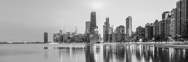 Chicago Skyline Gold Coast Black and White Panorama Photo
