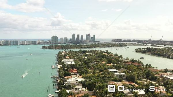Residential Islands of Miami Beach Florida Aerial Shot
