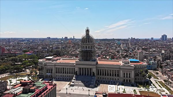 Cuba Havana Birdseye view moving parallel to Capitol building