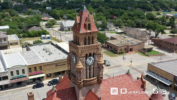Spires, turrets, rooftops, and clocks, Decatur, Texas, USA