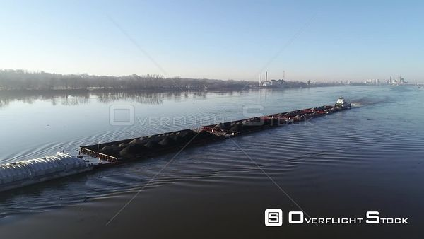 Early Morning Barge on the Ohio River Kentucky Drone Aerial View