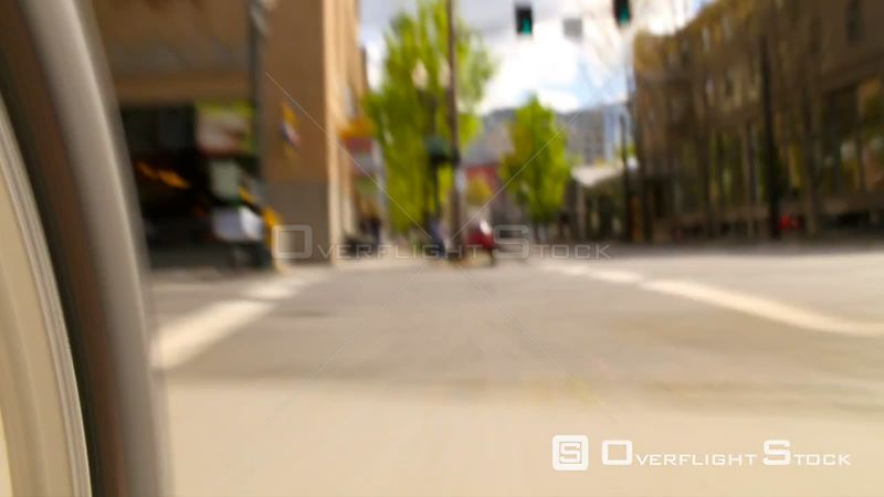 Biking POV time lapse clip of Portland's Street Car route in city. Very fast paced and busy looking. Oregon