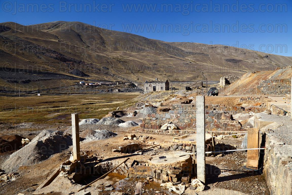 Area for washing and separating ore at partly abandoned mine at Kaluyo, La Paz Department, Bolivia