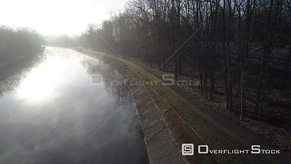 Early Morning Fog on Erie Canal Pittsford, New York. Bushnell's Basin