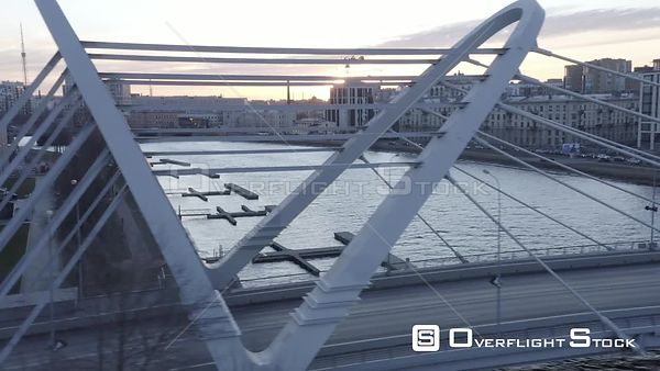 Sideway Shot of New Bridge in New District of a City. Saint Petersburg Russia Drone Video View