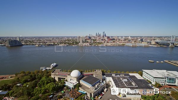 Philadelphia Pennsylvania Aerial Flying from Camden toward Old City over Delaware River