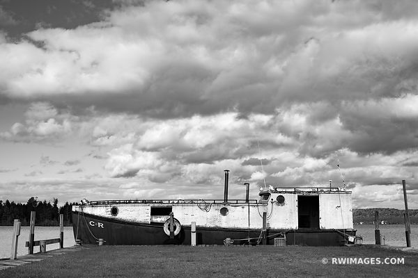 OLD FISHING BOAT JACKSON HARBOR WASHINGTON ISLAND DOOR COUNTY WISCONSIN BLACK AND WHITE