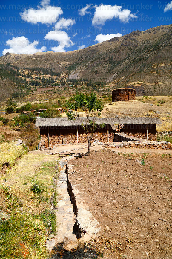 Water channel leading to Inca site of Urco / Urqo, near Calca, Cusco Region, Peru
