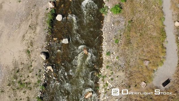 Straight down view of a mountain trout stream,  Estes Park, Colorado, USA