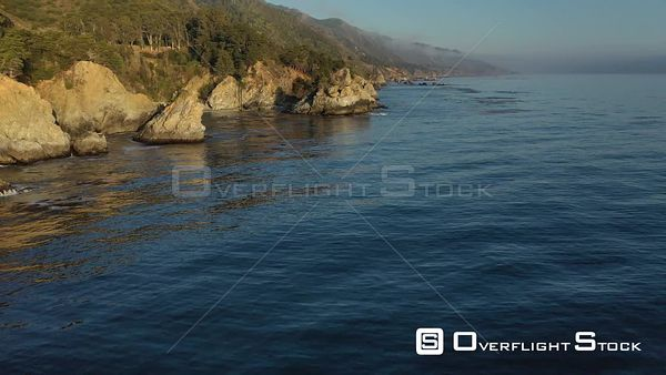 Scenic Pacific Rocky Shoreline Big Sur California Drone Aerial View