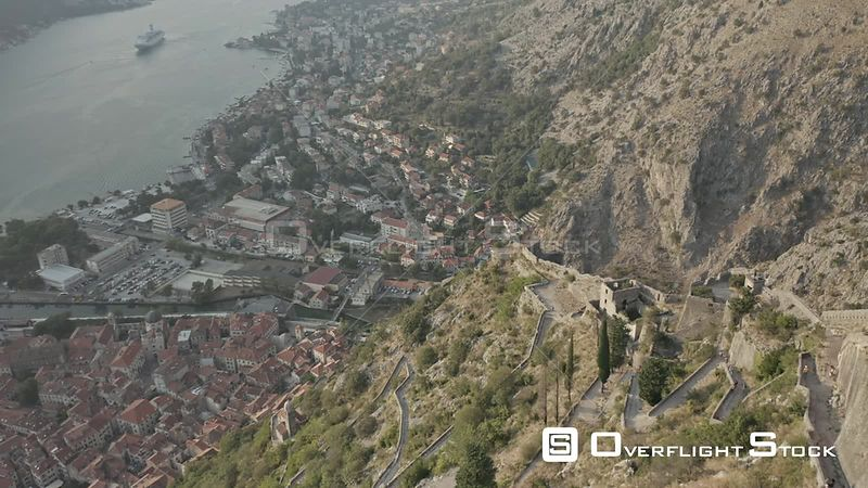 Drone Video Kotor Fortress Castle Of San Giovanni Montenegro