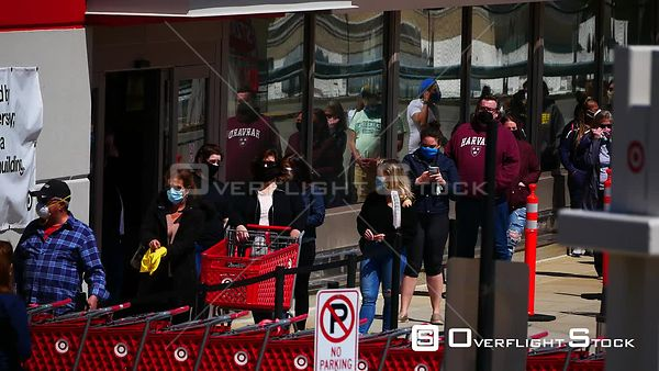 Masked Shoppers Social Distancing Line to Target Store During Covid-19 Pandemic