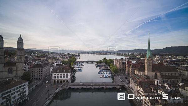 Cityscape Grossmunster Zurich Switzerland Drone Video