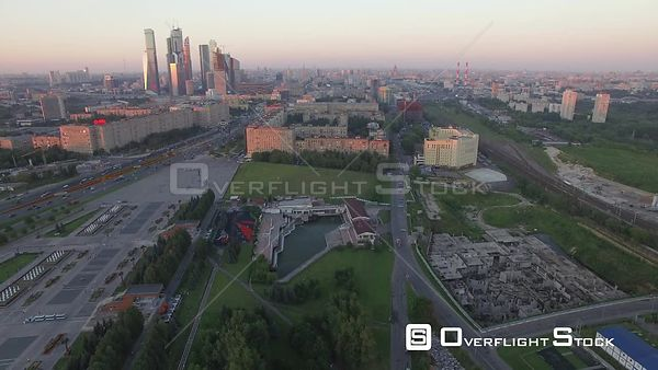 Hold in Place View of the Moscow Business City Center During the Sunset. Moscow Russia Drone Video View
