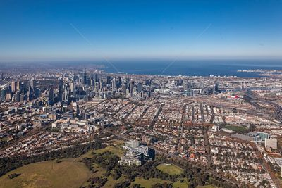 Aerial view of Parkville with Melbourne in the Background.  Victoria, Australia.