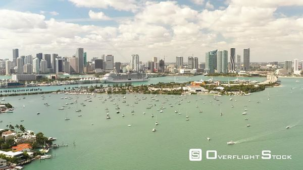 Passenger Cruise Ship at Port Miami Scenic Aerial Footage