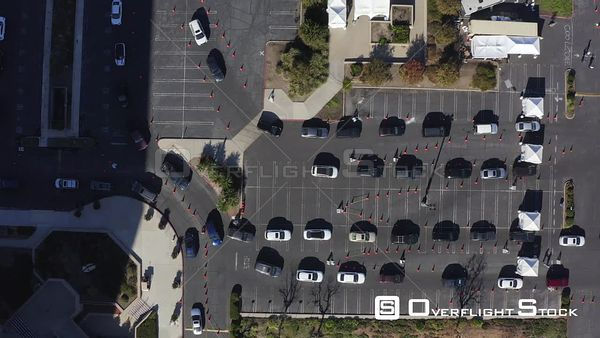 Covid-19 Drive Through Testing Station Canoga Ave and Erwin Street Parking Lot Woodland Hills Los Angeles California Drone Ae...