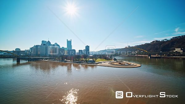Drone Video COVID-19 CoronaVirus Lockdown of Pittsburgh Pennsylvania. Downtown Point State Park