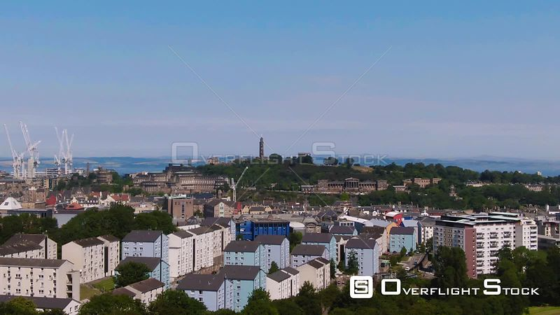 Aerial view of Calton Hill in Edinburgh Scotland