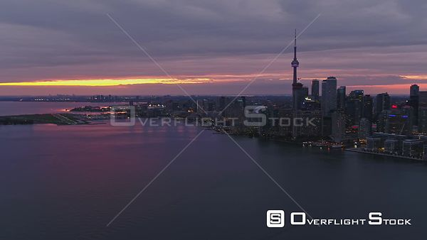 Toronto Ontario Short panoramic Inner Harbour skyline cityscape at sunset