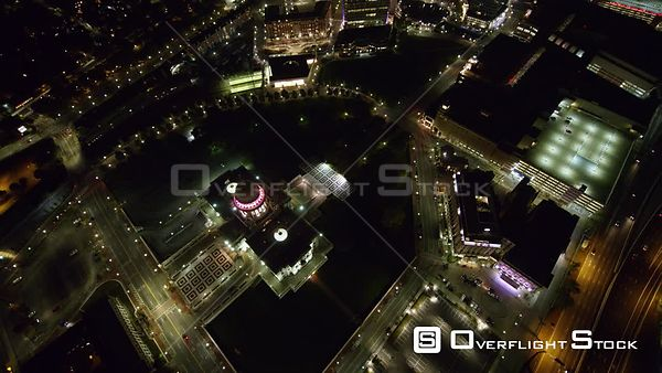 Providence Rhode Island Nighttime panning birdseye to near vertical detail view of Capitol building