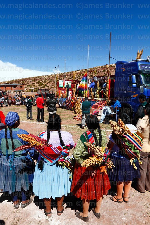 Aymara woman wearing traditional dress carrying quinoa at an event to promote quinoa products, Potosí Department, Bolivia