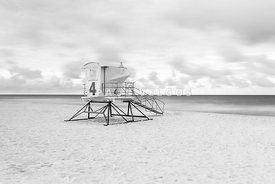 Pensacola Lifeguard Tower Four Black and White Photo