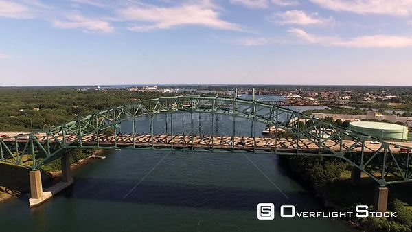Portsmouth United Kingdom Flying low over Blue Star Maine Turnpike bridge with city views