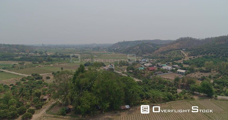 Thung Pi Thailand Aerial Panning around quaint countryside with hills