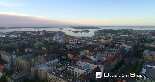 Sunrise Cityscape, Aerial View Around Helsinki Cathedral, Sunny Summer Morning Dawn, Helsingfors, Uusimaa, Finland