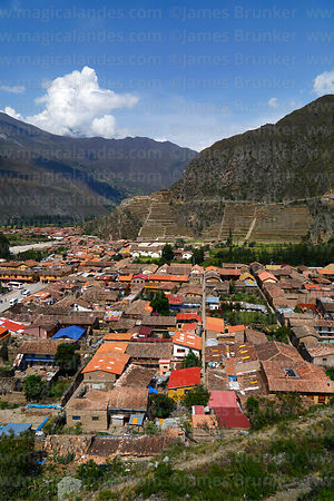 Elevated view of Inca site and village of Ollantaytambo, Sacred Valley, Peru