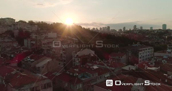 Aerial View of Istanbul Neighbourhood Rooftops Into Sunset Turkey