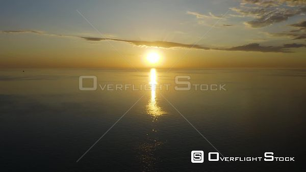 Chicago Illinois Drone View Sunset on Lake