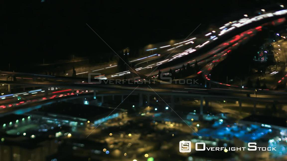 TIme lapse clip of freeway traffic at night Seattle Washington