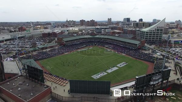 Drone Aerial View Louisville Slugger Field During a Soccer Louisville Kentucky