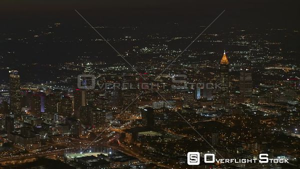Atlanta High vantage panoramic looking at the east side of downtown and midtown cityscapes at night