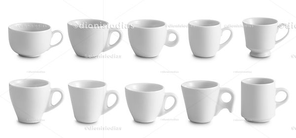 Cups of crockery isolated with path.