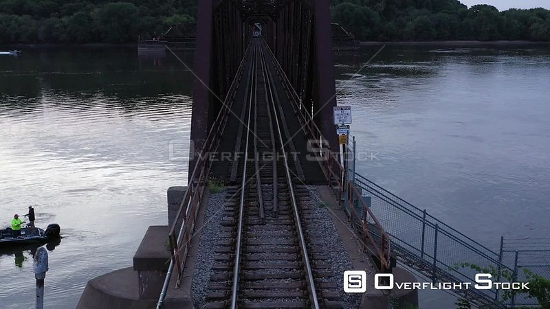 Canadian National Railroad Tracks on a River Bridge, Dubuque, Iowa, USA