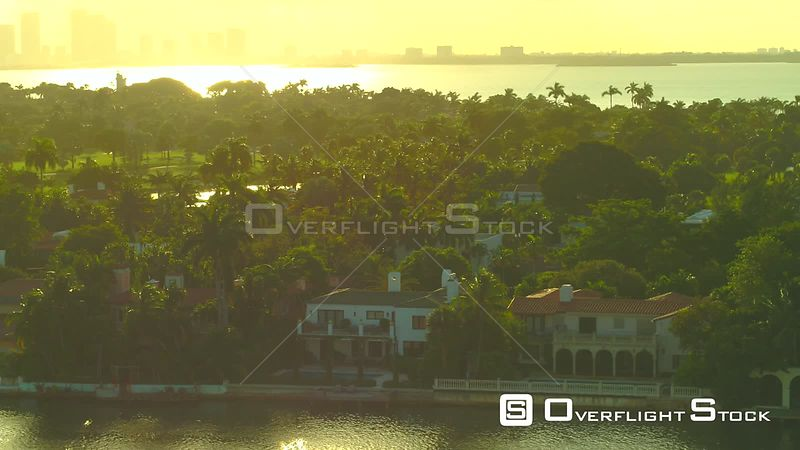 Aerial video luxury mansions Miami 4k