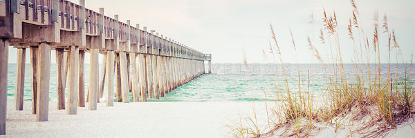 Pensacola Gulf Pier and Beach Grass Panorama Photo