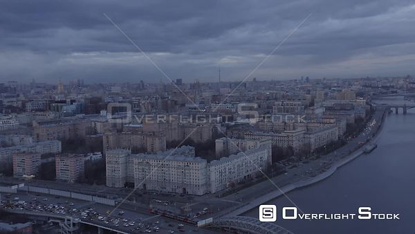 Gloomy Flight Over the Moscow River With Cityscape. Moscow Russia Drone Video View