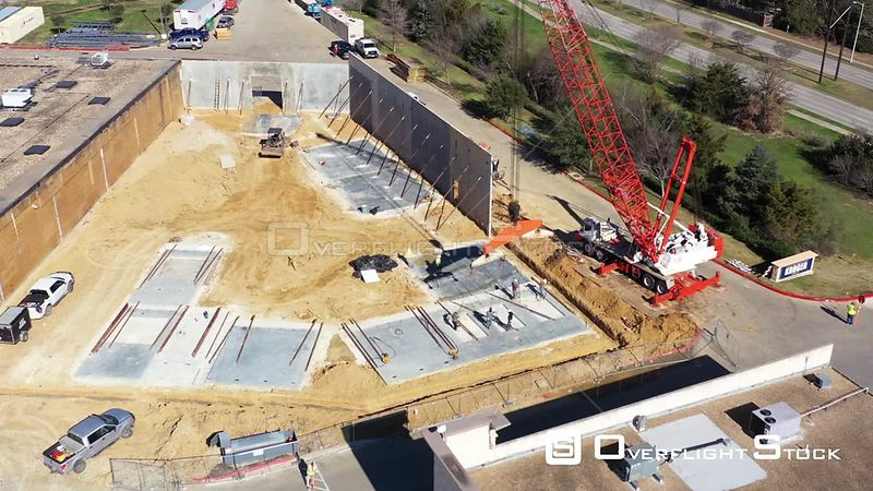 Hooking a Crane to a Concrete Slab, Bryan, Texas, USA