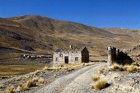 Abandoned buildings at entrance of mine at Kaluyo, La Paz Department, Bolivia